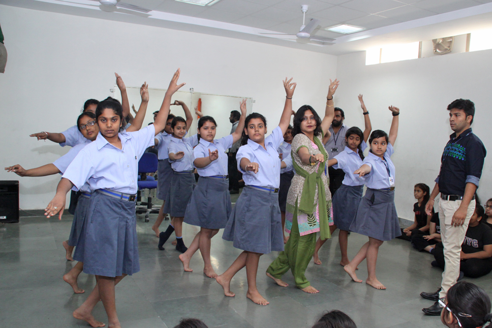 Students learning classical dance form