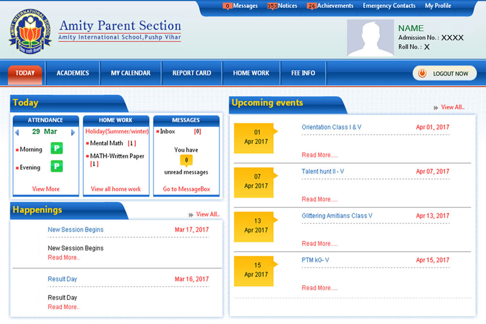 ERP systems in place to help parents keep a track on their ward's activites