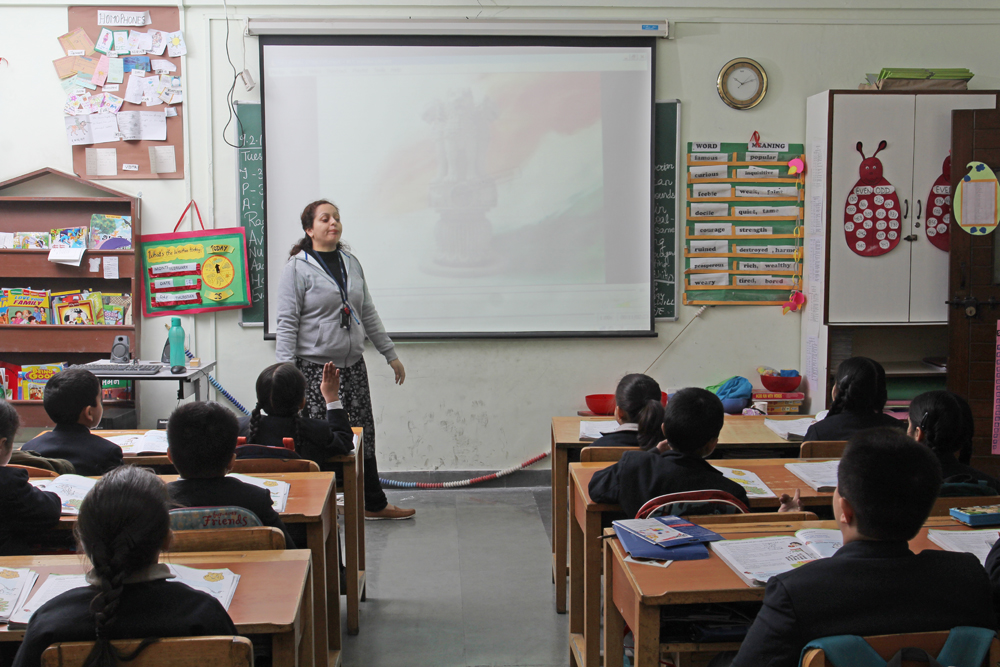 Use of projectors for teaching the students