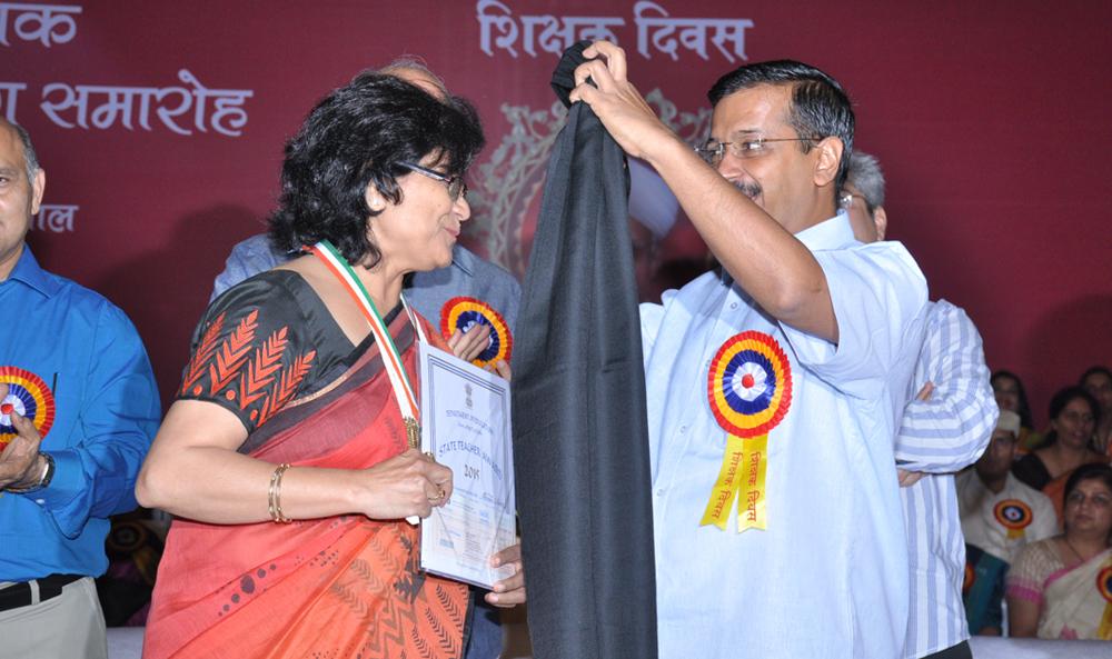 Ameeta Mohan with Arvind Kejriwal and Manish Sisodia