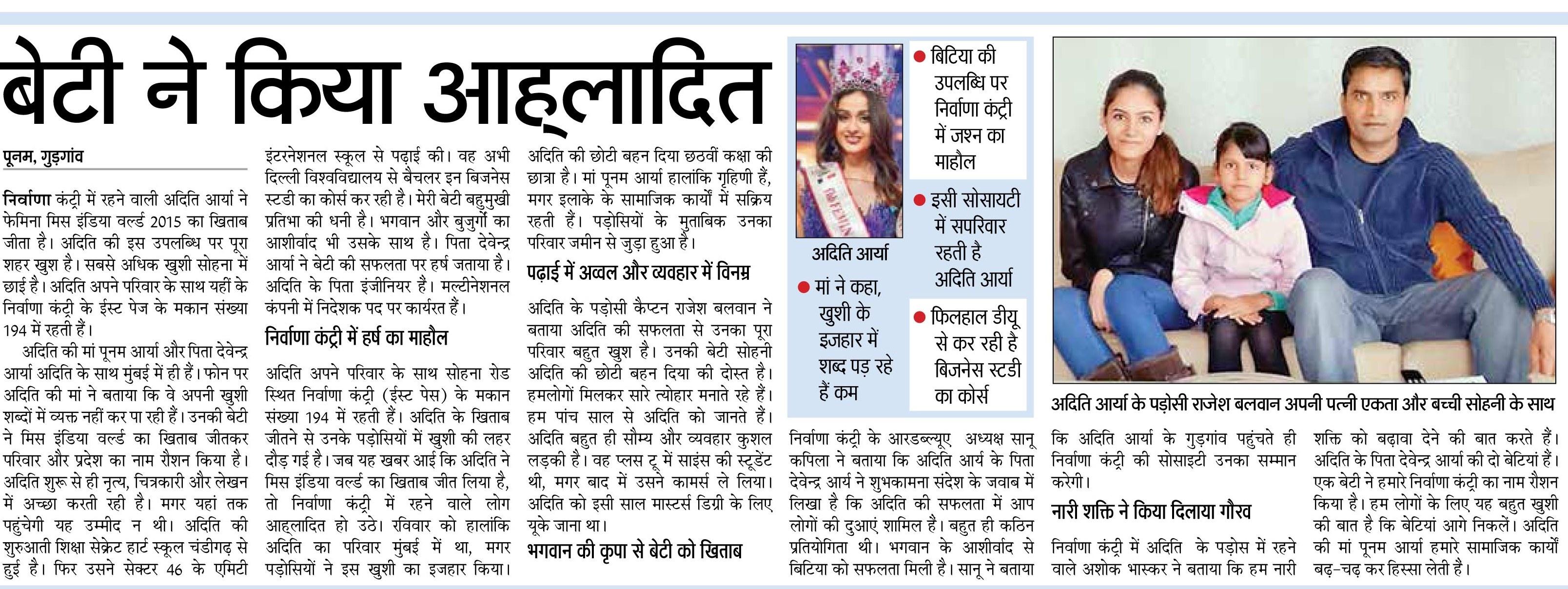 ... School, Sec-46, Gurgaon-Aditi Arya wins Femina Miss India 2015 Title
