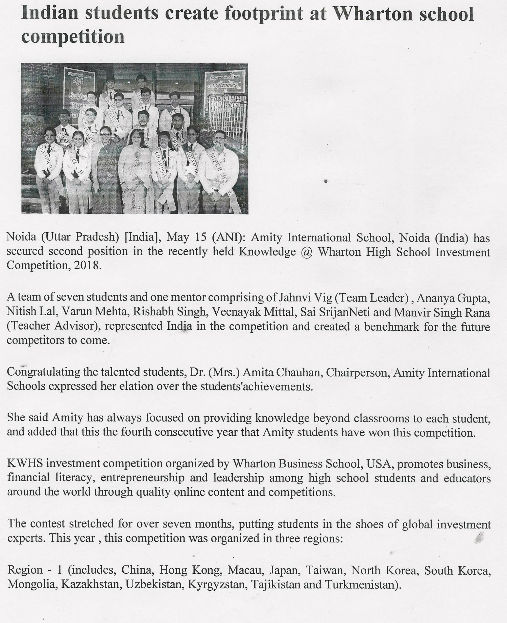 Students of AIS, Noida win 2nd position globally in KWHS